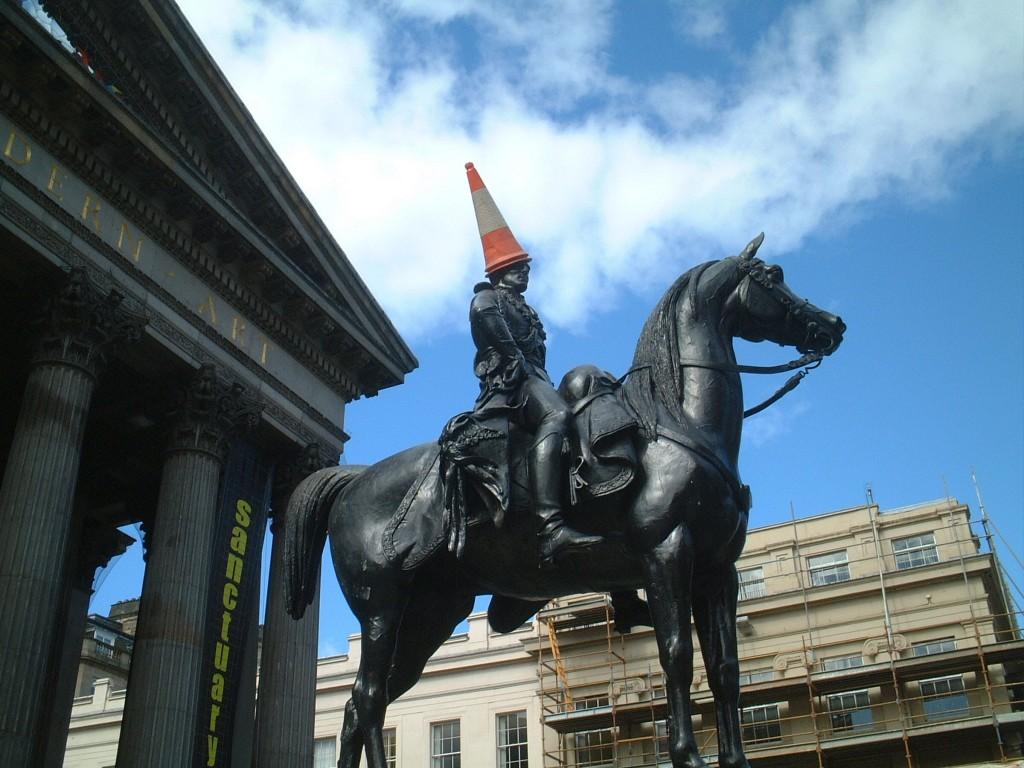 Famous Glasgow cone statue