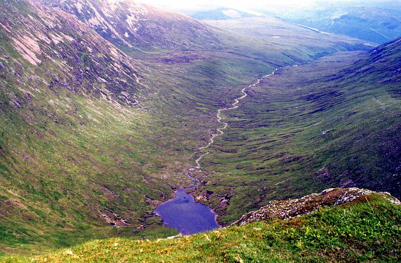 Looking down into Coire Glas